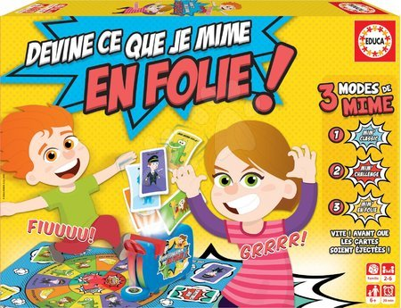 Společenská hra Devine Ce Que Je Mime En Folie! Educa francouzsky, pro 2–6 hráčů od 6 let