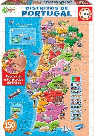 Dětské puzzle od 100–300 dílků - Puzzle Mapa Portugalska s monumenty Educa 150 dílků od 7 let