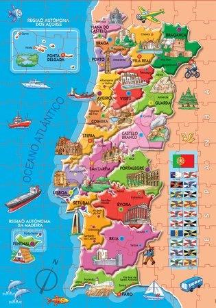 Dětské puzzle od 100–300 dílků - Puzzle Mapa Portugalska s monumenty Educa 150 dílků od 7 let_1