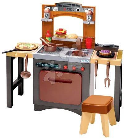 Écoiffier - Kuchyňka s pizzou Pizzeria Écoiffier oboustranná polohovatelná se židlí a 33 doplňky od 18 měsíců