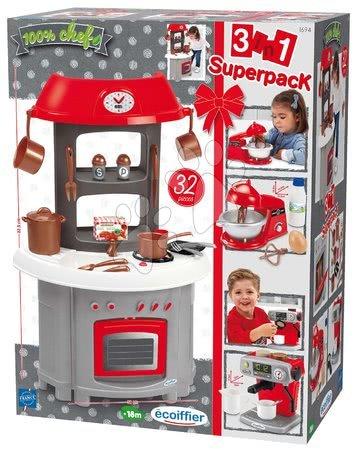 Obyčejné kuchyňky - Kuchyňka Superpack 3in1 Écoiffier s kávovarem a kuchyňským robotem 32 doplňků od 18 měs_1