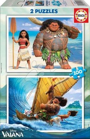 Detské puzzle od 100-300 dielov - Puzzle Disney Vaiana Educa 2x 100 dielov od 5 rokov