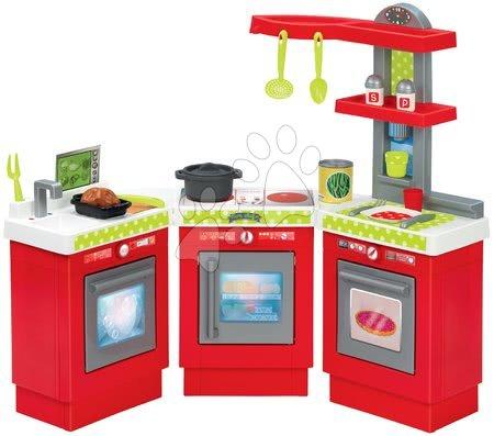 Écoiffier - Kuchyňka 3-Modules French Écoiffier 3dílná červeno-stříbrná s 21 doplňky od 18 měsíců
