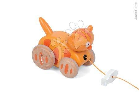 Ťahacie hračky - Drevená mačka Pull Along Janod na ťahanie so zvukom od 12 mes