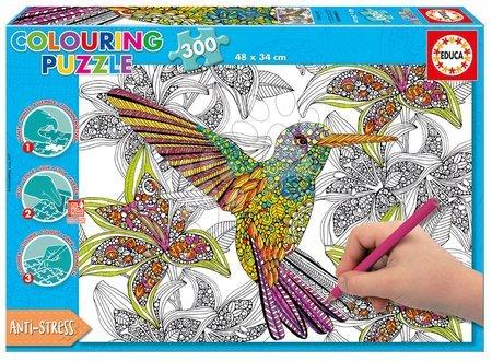 Puzzle Omaľovánky Kolibrík Doodle Art Educa 300 dielov a Fix lepidlo od 11 rokov