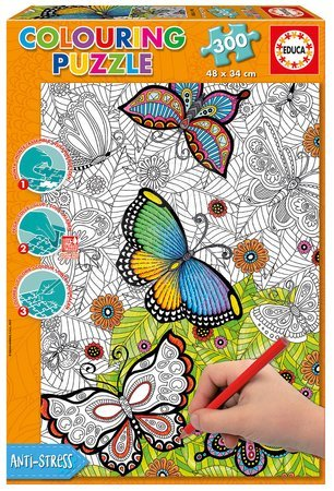 Puzzle Omalovanky All good things are wild and free Doodle Art Educa 300 dielov+Fix puzzle lepidlo EDU17089