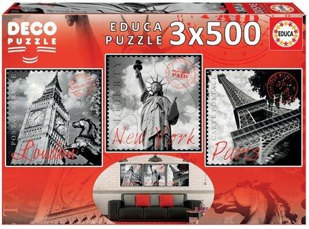 Puzzle 500 dílků - Puzzle Deco Big Cities Educa 3x500 dílů od 11 let