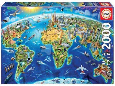 Puzzle - Puzzle Genuine World Landmarks Globe Educa 2000 de piese de la 11 ani