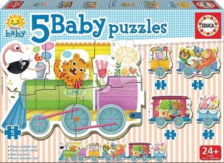 Puzzle pentru copii  - Puzzle pentru cei mai mici Animale pe tren Baby Educa de la 24 de luni