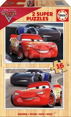 Lesene Disney puzzle - Lesene otroške puzzle Avtomobili 3 Educa 2x16 delov od 4 leta