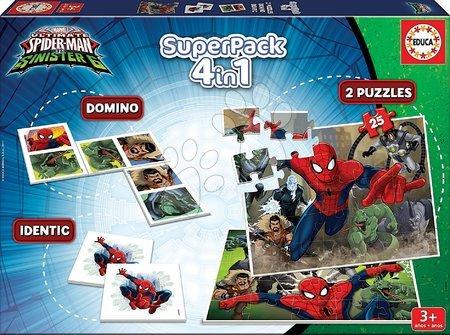 Spiderman - Otroške puzzle Spiderman SuperPack 4v1 Educa 2x domino, 1x puzzle in spomin