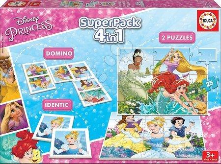 Progresivní dětské puzzle - Puzzle Disney Princezny SuperPack 4v1 Educa progresivní 2 x puzzle, 1 x domino a pexeso