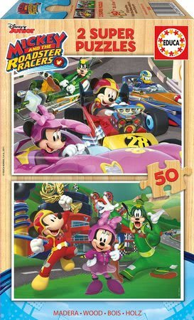 Lesene Disney puzzle - Lesene puzzle Mickey and the Roadster Racers Educa Disney 2x50 delov od 5 leta