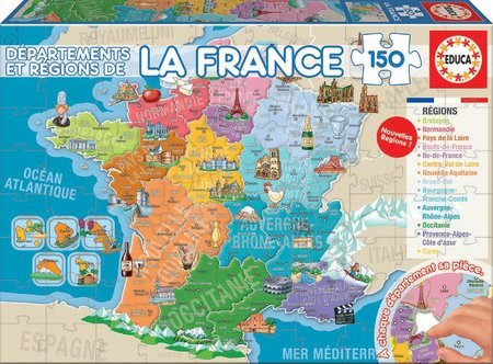Dětské puzzle od 100–300 dílků - Puzzle Mapa Francie s monumenty Educa 150 dílků od 7 let