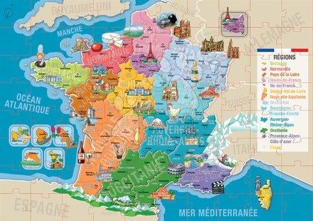 Dětské puzzle od 100–300 dílků - Puzzle Mapa Francie s monumenty Educa 150 dílků od 7 let_1