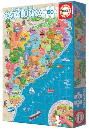 Dětské puzzle od 100–300 dílků - Puzzle Mapa Katalánsko s monumenty Educa 150 dílků od 7 let