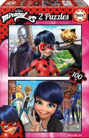 Dětské puzzle od 100–300 dílků - Puzzle Miraculous Ladybug Educa 2 x 100 dílků od 6 let