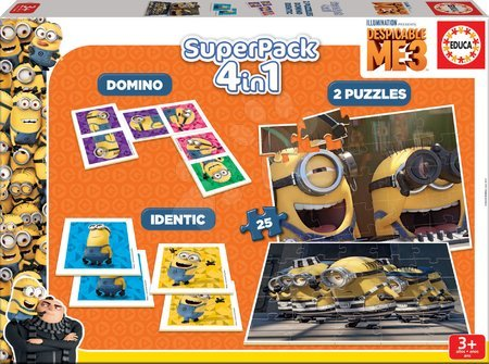 Puzzle Minions Despicable ME3 SuperPack 4in1 Educa 2xdomino, puzzle, pexeso