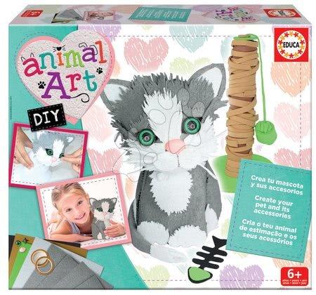 Kreativni set Animal Art Educa Izdelaj svojo mucko in njene dodatke od 6 leta