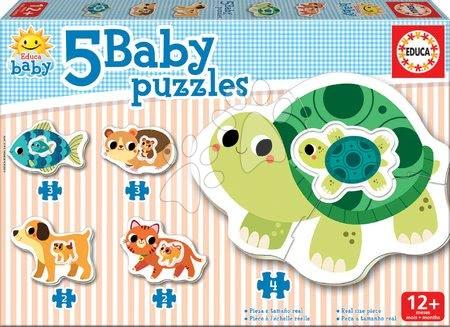 Puzzle pentru copii  - Puzzle pentru cei mici Baby 5 Educa - Animale cu broaşte ţestoase de la 12 luni