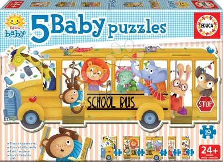 Puzzle pentru copii  - Puzzle pentru cei mici Baby 5 Educa - Autobuz şcolar cu animale de la 24 luni