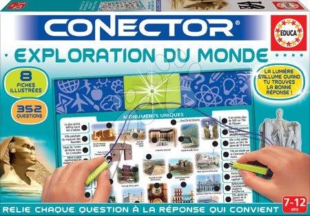 Spoločenské hry - Spoločenská hra Conector Exploration Du Monde Educa francúzsky 352 otázok od 7 rokov