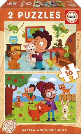 Gyermek fa puzzle Háziállatok Educa 2x 16 darabos 4 évtől