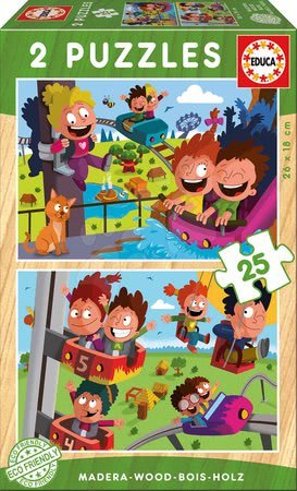 Gyermek fa puzzle Cirkusz és vidámpark Educa 2x 25 darabos 4 évtől