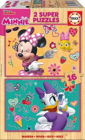 Minnie Mouse - Dřevěné puzzle Minnie Happy Helpers Educa Disney 2x16 dílů od 4 let
