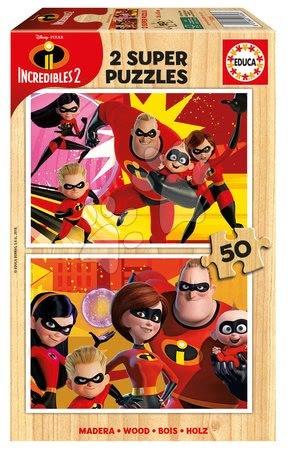 Lesene Disney puzzle - Puzzle The incredibles 2 Educa Disney 2*50 delčkov