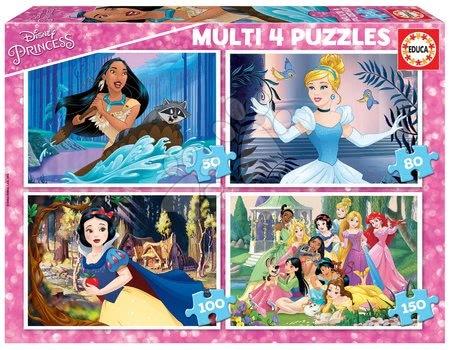 Progresivní dětské puzzle - Puzzle Multi 4 Disney Princess Educa 50-80-100-150 dílků od 5 let