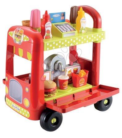 Supermarteturi pentru copii - Cărucior de servit de îngheţată 100% Chef Écoiffier cu hamburgeri şi cu 29 de accesorii de la 18 luni