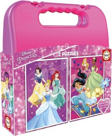 Dětské puzzle do 100 dílků - Puzzle v kufříku Disney Princess Case Educa 2x48 dílků od 5 let