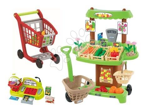 Écoiffier - Zeleninový stánek 100% Chef Écoiffier s pokladnou, nákupním vozíkem a 65 doplňky od 18 měsíců