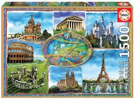 1500 darabos puzzle - Puzzle Seven wonders of Europe Educa 1500 darabos és Fix ragasztó 11 évtől