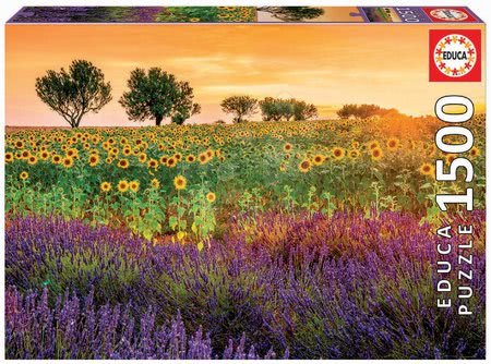 Puzzle Field of Sunflowers and Lavender Educa 1500 dielov a Fix lepidlo od 11 rokov