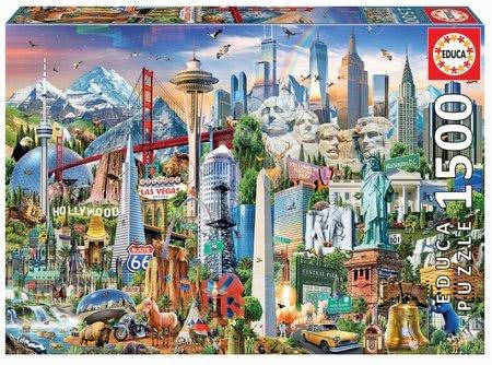 1500 darabos puzzle - Puzzle Symbols from North America Educa 1500 darabos és Fix ragasztó 11 évtől