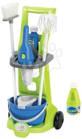 Hry na domácnosť - Upratovací vozík Clean Home Écoiffier 8 doplnkov modro-zelený