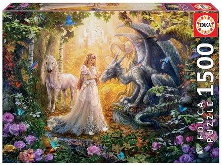 1500 darabos puzzle - Puzzle Dragon, Princess and Unicorn Educa 1500 darabos és Fix ragasztó 11 évtől