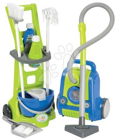 Čistilni voziček Clean Home Écoiffier s sesalnikom 10 dodatkov modro-zelen