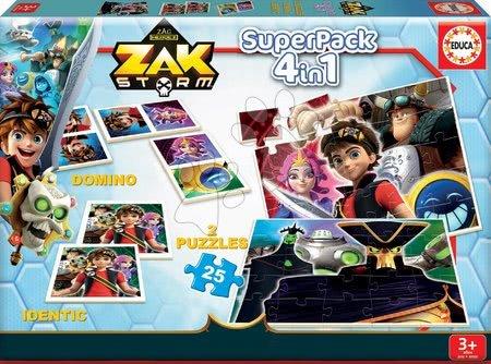 Puzzle domino a pexeso Zak Storm Superpack 4v1 Educa