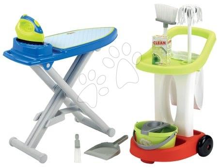 Écoiffier - Set úklidový vozík s kbelíkem a žehlicím prknem Clean Home Écoiffier a s doplňky