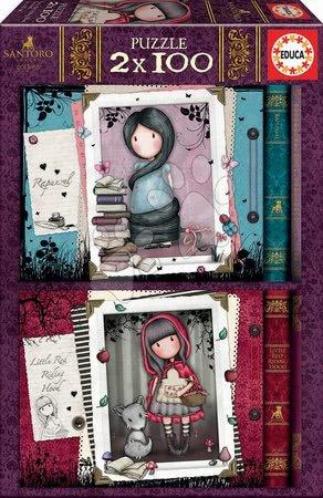 Dětské puzzle od 100–300 dílků - Puzzle Santoro London Gorjuss Educa 2 x 100 dílků Rapunzel a Little Red Riding Hood od 5 let