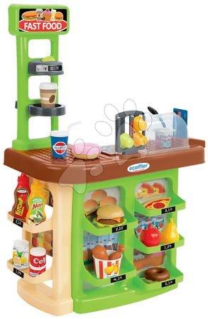 Supermarteturi pentru copii - Magazin mic restaurant fast-food Fast Food 100% Chef Ecoiffier cu cafetieră hamburgeri şi 23 de accesorii de la vârsta de 18 luni
