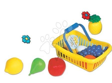 Detské kuchynky - Piknikový košík Dohány malý s ovocím a potravinami žltý