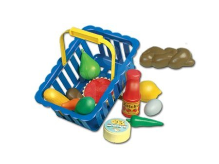 Detské kuchynky - Piknikový košík Dohány veľký s ovocím a potravinami modrý