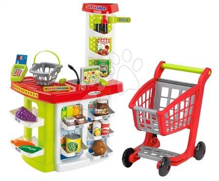 Obchod supermarket s nákupným vozíkom 100% Chef Écoiffier s pokladňou a potravinami od 18 mes