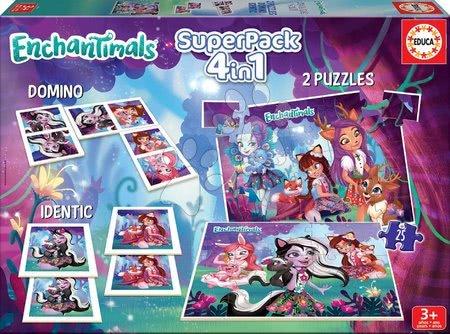 Enchantimals - Superpack játékcsomag Enchantimals 4in1 Educa 2x25 puzzle, pexeso és domino