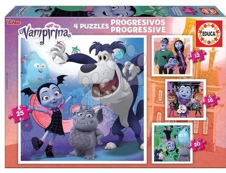 Progresivní dětské puzzle - Puzzle Vampirina Progressive 4v1 Educa 12-16-20-25 dílů, progresivní