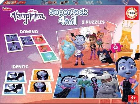 Progresivní dětské puzzle - Superpack hry Vampirina 4v1 Educa 2x25 puzzle, pexeso a domino
